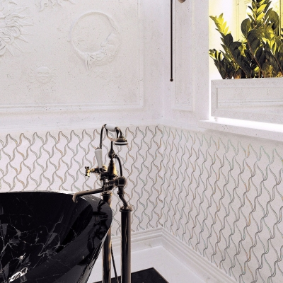 Pearl Ribbon Carrara White Marble and Shell Waterjet Mosaic Tile