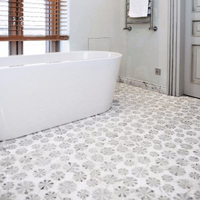 Margherita Calacatta Gold White and Grey Marble Waterjet Mosaic Tile