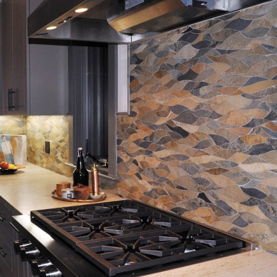 Picassoesque Multicolor Slate Waterjet Mosaic Tile