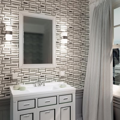 Rectangles White Carrara Marble and Beige Glass Waterjet Mosaic Tile
