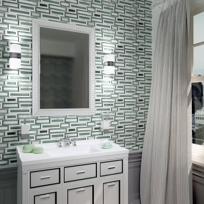 Rectangles White Carrara Marble and Green Glass Waterjet Mosaic Tile