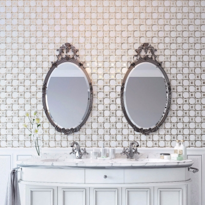 Irregular Circles Carrara White and Silver Glass Waterjet Mosaic Tile