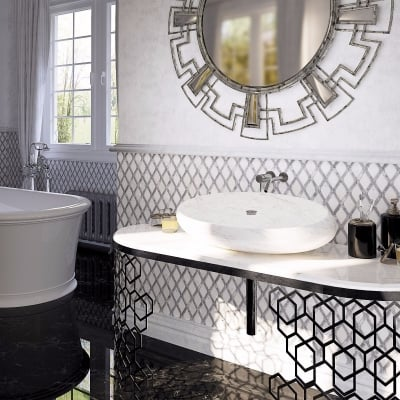 Rhombus Shape Carrara White and Bardiglio Nuvolato Marble Waterjet Mosaic Tile