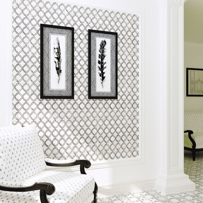 Lattice Carrara White Marble Waterjet Mosaic Tile