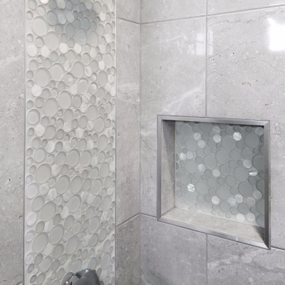 Sparkle Round Glass and Shell Mosaic Tile
