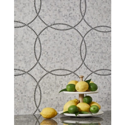 Eternity Empire Carrara Bella (Honed) Dove Gray (Clear) Marble and Glass Mosaic Tile - AKDO