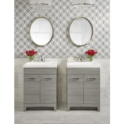Eternity Imperial Carrara Bella (Honed) Dove (Gray Clear) Marble and Glass Mosaic Tile - AKDO