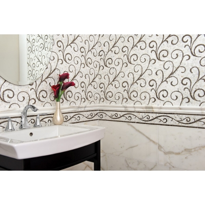 Lace Curve Calacatta (Polished) Marble and Limestone Mosaic Tile - AKDO