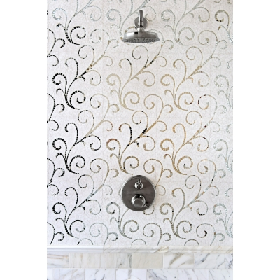 Lace Curve Thassos (Polished) & Mirror Marble and Mirror Mosaic Tile - AKDO