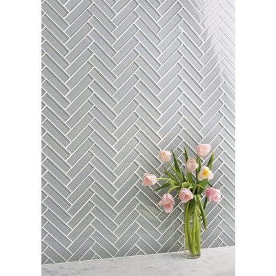 "1"" x 4"" Herringbone Dove Gray (Clear) Glass Mosaic Tile - AKDO"