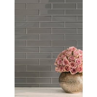 "1"" x 6"" Brick Lunar Gray Medium (Clear) Glass Mosaic Tile - AKDO"