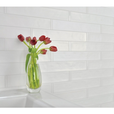 "10 1/2"" x 2 1/2"" Origin Birch White (Matte) Ceramic Tile - AKDO"