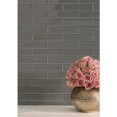 "3"" x 12"" Tile Lunar Gray Medium (Clear) Glass Tile - AKDO"