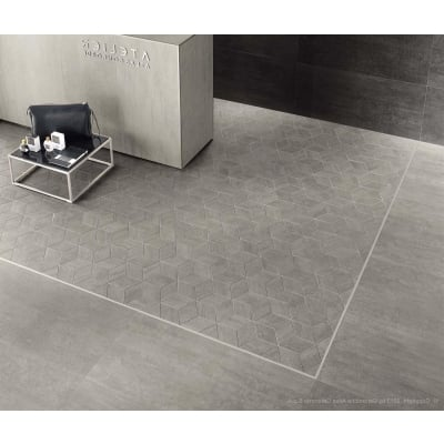 Esagono Mark Chrome Porcelain Mosaic Tile - AKDO