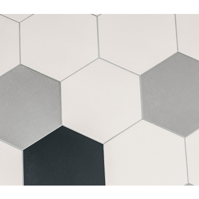 Hexagon Heritage Birch White Porcelain Tile - AKDO