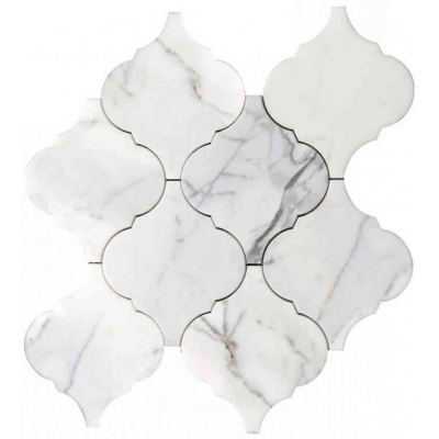 Arabesque Shape Arabescato Carrara Marble Waterjet Mosaic Tile