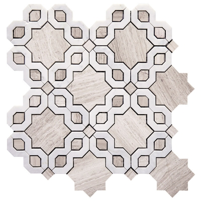 Catena Wooden Grey and White Carrara Marble Waterjet Mosaic Tile