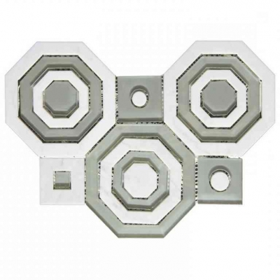 Octagon Carrara White Marble and Glass Waterjet Mosaic Tile