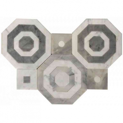 Octagon Carrara White and Bardiglio Marble Waterjet Mosaic Tile