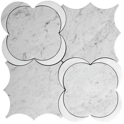 Silver Crescent Dolomite and Carrara White Marble Waterjet Mosaic Tile