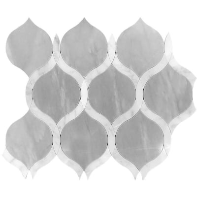 Romans Carrara White and Eastern Grey Marble Waterjet Mosaic Tile