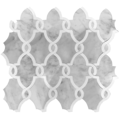Romans Arabesque Carrara White and Eastern Grey Marble Waterjet Mosaic Tile