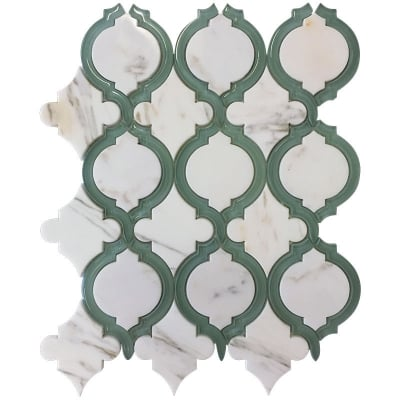 Lattice White Calacatta Marble and Green Glass Waterjet Mosaic Tile