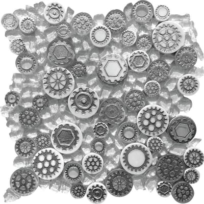 Mixed Gear Art White Mosaic Tile