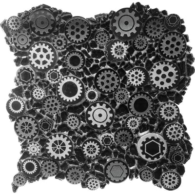 Mixed Gear Art Black Mosaic Tile