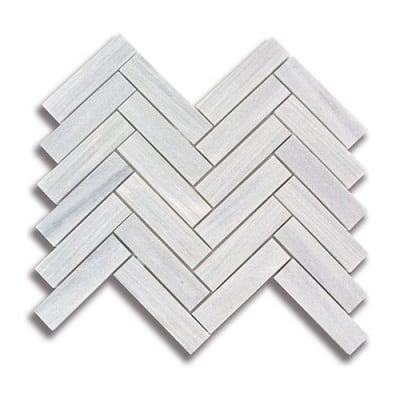 "1"" x 4"" Herringbone Ash Gray (Honed) Marble Mosaic Tile - AKDO"