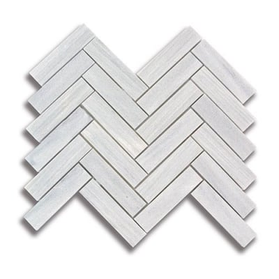 "1"" x 4"" Herringbone Ash Gray (Polished) Marble Mosaic Tile - AKDO"