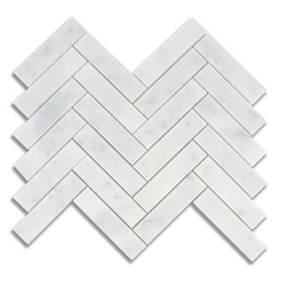 "1"" x 4"" Herringbone Carrara (Honed) Marble Mosaic Tile - AKDO"