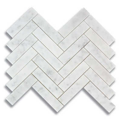 "1"" x 4"" Herringbone Carrara (Polished) Marble Mosaic Tile - AKDO"