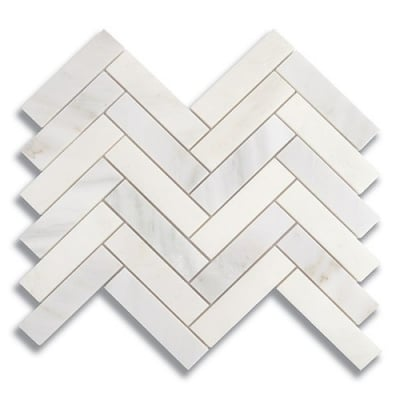 "1"" x 4"" Herringbone Carrara Bella (Polished) Marble Mosaic Tile - AKDO"