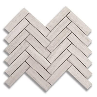 "1"" x 4"" Herringbone Cream Taupe (Honed) Marble Mosaic Tile - AKDO"