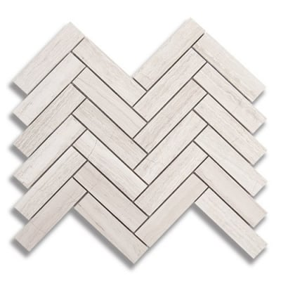 "1"" x 4"" Herringbone Cream Taupe (Polished) Marble Mosaic Tile - AKDO"
