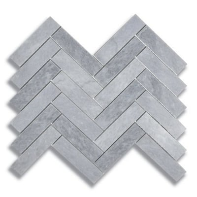 "1"" x 4"" Herringbone Turkish Gray (Honed) Marble Mosaic Tile - AKDO"