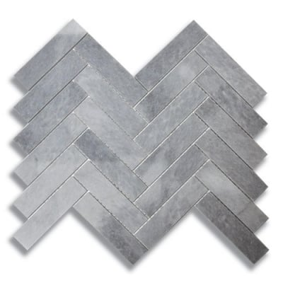 "1"" x 4"" Herringbone Turkish Gray (Polished) Marble Mosaic Tile - AKDO"