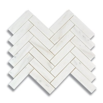 "1"" x 4"" Herringbone White Haze (Honed) Marble Mosaic Tile - AKDO"