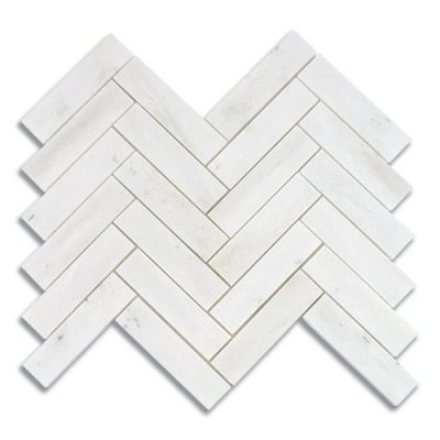 "1"" x 4"" Herringbone White Haze (Polished) Marble Mosaic Tile - AKDO"
