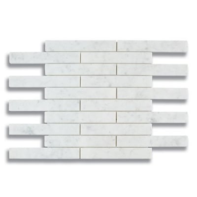 "1"" x 6"" Brick Carrara (Polished) Marble Mosaic Tile - AKDO"