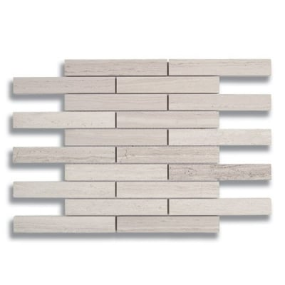 "1"" x 6"" Brick Cream Taupe (Honed) Marble Mosaic Tile - AKDO"