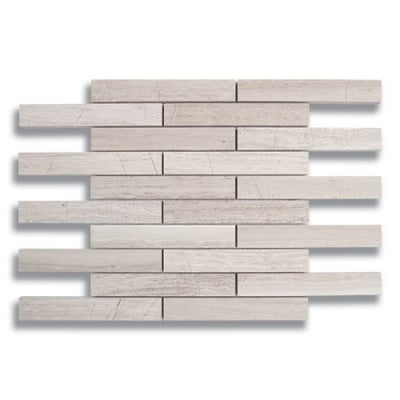 "1"" x 6"" Brick Cream Taupe (Polished) Marble Mosaic Tile - AKDO"