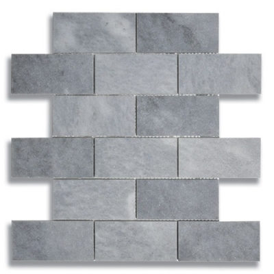 "2"" x 4"" Brick Turkish Gray (Honed) Marble Mosaic Tile - AKDO"
