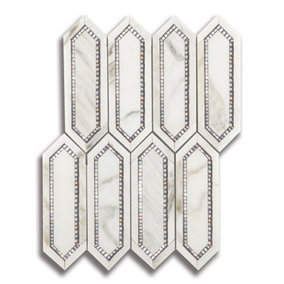 Allure Radiance Calacatta (Polished) with Bronze & Pewter Mirror Marble and Mirror Mosaic Tile - AKDO