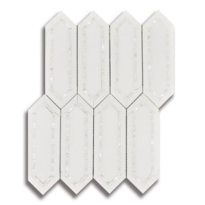 Allure Extension Collection Radiance Thassos (Polished) Marble and Shell Mosaic Tile - AKDO