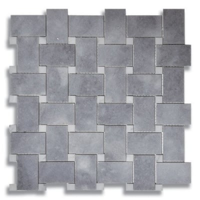 Basketweave Turkish Gray (Honed) Marble Mosaic Tile - AKDO