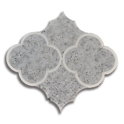 Eternity Quattro Ash Gray (Honed) Thassos (Honed) Marble Mosaic Tile - AKDO