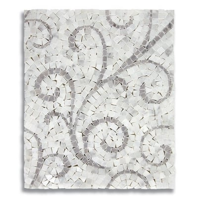 Lace Curve Carrara (Polished) & Turkish Gray (Polished) Marble Mosaic Tile - AKDO