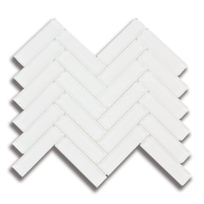 "1"" x 4"" Herringbone Arctic White (Clear) Glass Mosaic Tile - AKDO"
